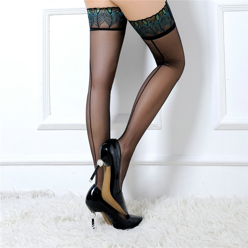 Peacock Patterned Lace Stockings